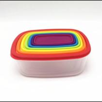 Falcon Rainbow színes, 7+7 részes ételtároló doboz készlet, téglalap, 28*21 cm