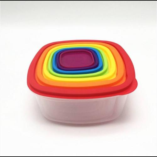 Falcon Rainbow színes, 7+7 részes ételtároló doboz készlet, 26*26 cm